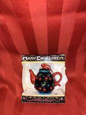 Vtg Mary Engelbreit Mini Teapot Tea Ornament Cherries Orchard Black Me Ink