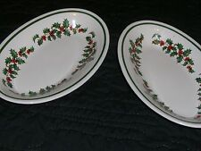 Myott Staffordshire England Christmas Holly Berry Serving Bowls Ironstone Set