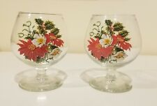 New listing Set of 2 Cognac Brandy Snifter Glasses with a Floral design Hennessey Courvoisie