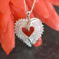 "1.00 CT Round Diamond Heart Valentine Day Pendant 18"" Necklace 14k White Gold GP"