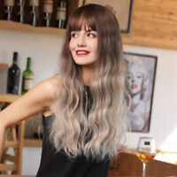 """24"""" Long Curly Hair Wigs Brown Gradient Golden Synthetic Full Wig for Women"""
