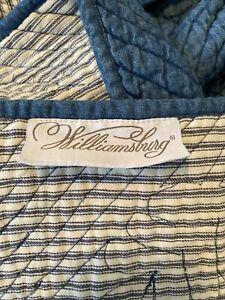Pine Cone Hill Queen Size Williamsburg reversible ticking stripe blue Quilt