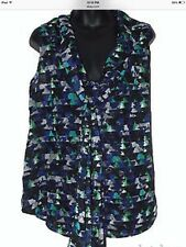 Kirna Zabete Shimmery Geometric Print Button-Down Tie-Front Medium Blouse Top