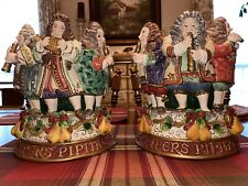 Fitz & Floyd 12 Days Of Christmas Pipers Piping Candle Holder Set 2000 w/Box