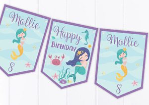 Personalised Mermaid Happy Birthday Bunting, Children's Party Decoration Banner