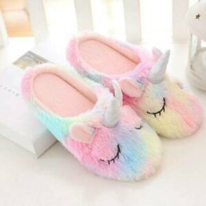 Colorful Unicorn Home Indoor Slippers For Women Winter Keep Warm Lovely Shoes