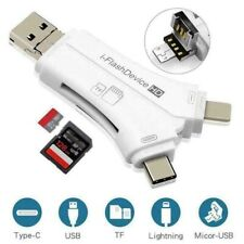 4in1 Lightning Micro SD/TF Memory Card Reader USB Adapter For iPhone Android
