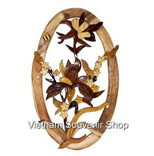 Hand Carved Wood Art Intarsia Flower -Sign Plaque -Wood flowers for wall hanging