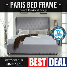 Bed Frame King Grey Provincial Wooden Slat Fabric Upholstered French Paris