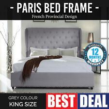 Bed Frame King Grey Wooden Slat Fabric Paris ✪ Pre Sale ✪ ETA- 5th July 2018 ✪