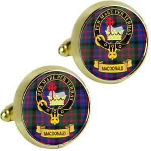 Mens Cufflinks MacDonald Scottish Clan Crest Brass Finish Presentation Boxed