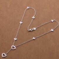 925 Sterling Silver Plated Multi-Heart Lariat Y-Shape Charm Pendant Necklace New
