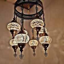Turkish Moroccan Arabian Glass Mosaic Chandelier Lamp Light 8 Bulb - UK SELLER