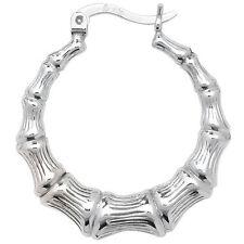 Sterling Silver Bamboo Style Hoop earrings