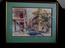 "Cecile Anderson Framed Print Vintage Seaside Town Shopping Scene 1950's 17""x 21"""