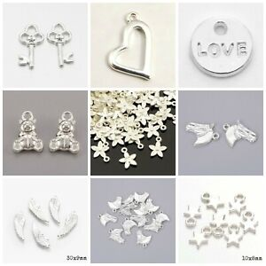 Bright silver plated charms pendants jewellery card making crafts