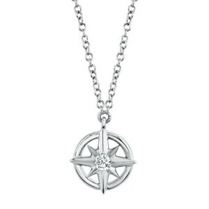 Diamond Northstar Compass Pendant 14k White Gold Natural Round Cut Necklace