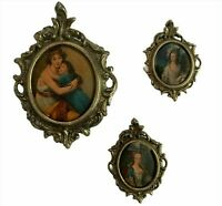 Vintage Ornate Tiny Frame Lot of 3 Fabric Prints Victorian Style Round Gold Tone