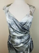 NWT Maggy London Special Occassion Silver Gray Print Dress size 10  10418-1 B7