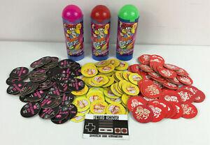 Retro 90s POGS Lot Bundle Chupa Caps Monster Laser Light Mad x215 Pogtainer