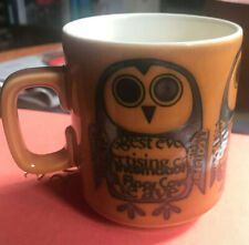 Vintage Hornsea newsprint owl mug by John Clappison 1960s