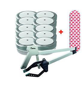 Jeising Mini Rauchmelder RWM100gr  10er Set mit Magnetpad,VDS + 3 Finger Greifer