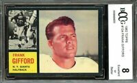 1962 topps #104 FRANK GIFFORD new york giants BGS BCCG 8
