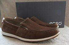 ECCO Reciprico Mahogany Nubuck Leather Moccasin Shoes US 10 - 10.5 M EUR 44 NWB