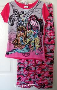 NWT Official MONSTER HIGH Pajama Top Bottom SET 10/12 Camo Skull GREAT QUALITY!!