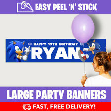 Sonic Personalised Birthday Party Banner (110cm x 25cm) - Low Price!