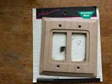Electrical Wall Face Plate Unfinish Wood 2 Rocker Switch Brand New, Sealed