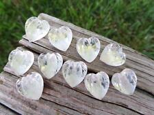 (10) 1930'S VTG Clear Sweet Glass Hearts Leaves CABOCHONS CABS Crafts CZECH RARE
