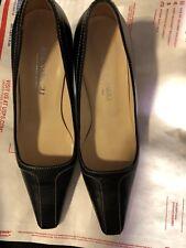 "Shoes, BRUNO MAGLI, classic pump, navy  looks black leather, 3"" heel SZ: 7B"