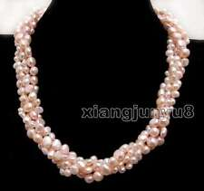 "Two strands Light Pink Baroque 6-9mm pearl 40"" necklace combination 18"" set-6289"