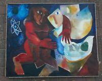 Leo Roth Famous Jewish Artist Original Oil On Canvas Massive Painting Signed