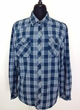 Forever 21 Mens XL Blue Plaid Pearl Snap Long Sleeve Cowboy Western Shirt EUC