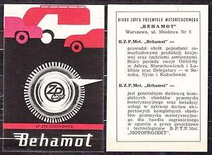 POLAND 1967 Matchbox Label - Cat.G#185/86 BEHAMOT - Automotive Industry Sales