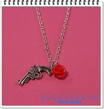 FUNKY SILVER GUN RED ROSE NECKLACE CUTE KITSCH RETRO ROCK CHICK PISTOL GANGSTER