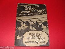 Gillette Razor Blades Original Community Sing Book 2 CBS Radio 1937 Milton Berle