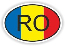 OVAL FLAG WITH RO ROMANIA COUNTRY CODE STICKER CAR MOTOCYCLE AUTO TRUCK LAPTOP