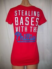 """NWT VICTORIAS SECRET """"PINK"""" """"STEALING BASES WITH THE PHILLIES"""" T SHIRT TEE MED"""