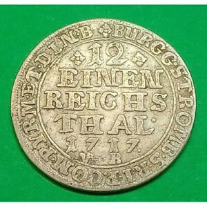 1717 German 1/12 Thaler Silver coin Germany States Munster Rare
