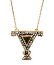 House Of Harlow 1960 Gold Tone Crystal Triangle Pendant Necklace NEW