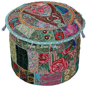 Patchwork Round Ottoman Pouffe Cover Green Ethnic Cotton 18 Inch Embroidered