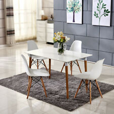 Modern White Dining Table and 4 Chairs Solid Wood Legs Home Office Set Furniture