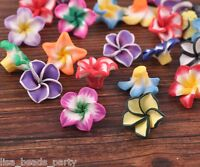 20pcs 20mm Flowers Lily Clay Jewelry Making DIY Charm Loose Spacer Beads Mixed