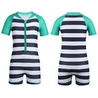 Baby Junge Mädchen Kurzarm Bademode UV Schützend Gestreift Zip Badebekleidung