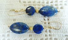 Beautiful Precious Lapis Lazuli Earrings in 14k YGF