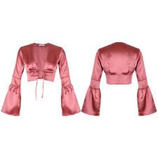 Womens Lace Up Front  Satin V Neck Bell Long Sleeve Blouse Crop Top UK 8-14