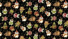Fat Quarter Christmas Owls on Black Quilting Fabric  Makower 1259X